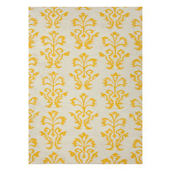 Jaipur Rugs - Flat Weave Floral Pattern Gold /Yellow Wool Handmade Rug - UB14, 5x8 - A range of beautifully designed flat weaves in a stunning color palette. Hand woven from 100% wool, each rug has its own personality and is versatile and easy to use.