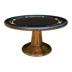 California House - taliesin 110-in pro holdem table w/ top - These solid hardwood tables are custom-crafted in the US in maple with your choice of four wood finishes and four felt colors. A ring of ten (10) cupholders and carved chipwells line the felt gaming surface and is surrounded by a padded, synthetic leather elbow rest.