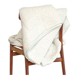 """Custom Cool - Ganesh Quilt King, Ivory / Mist Blue, 110""""x90"""", Ganesh - We spend a third of our lives in bed, relish that precious time with our vintage inspired, hand stitched Ganesh quilted bedding, both incredibly soft and cozy, this fresh, prairie-style quilt is informal and carefree with a passed on grace that embodies a folksy feel, the textured, stitched layers provide warmth while, the light, airy cotton fabrics are breathable."""