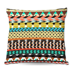 DiaNoche Designs - Pillow Woven Poplin from DiaNoche Designs by Organic Saturation - Desert Aztec P - Toss this decorative pillow on any bed, sofa or chair, and add personality to your chic and stylish decor. Lay your head against your new art and relax! Made of woven Poly-Poplin.  Includes a cushy supportive pillow insert, zipped inside. Dye Sublimation printing adheres the ink to the material for long life and durability. Double Sided Print, Machine Washable, Product may vary slightly from image.