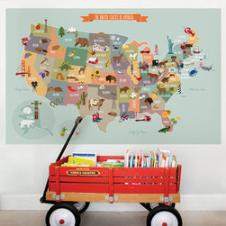 The USA map-Medium - USA Map Peel and Stick. Let your children discover our nation with the Peel & Stick USA Map. Notable animals and landmarks are represented on each state.