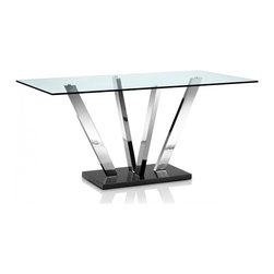 Creative Furniture - Crown Tempered Glass Dining Table with Chromed Steel Legs - The contemporary table was built with chromed steel legs and tempered glass with a sleek clear finish. This appealing Crown Tempered Glass Dining Table with Chromed Steel Legs is sure to bring modern style into your dining room.    Features: