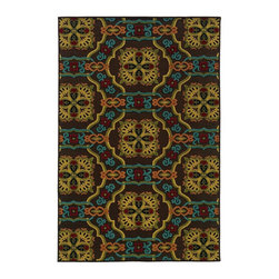 "Oriental Weavers - Indoor/Outdoor Lagos Round 7'10"" Round Brown-Multi Area Rug - The Lagos area rug Collection offers an affordable assortment of Indoor/Outdoor stylings. Lagos features a blend of natural Brown-Multi color. Machine Made of Polypropylene the Lagos Collection is an intriguing compliment to any decor."