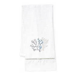 Jacaranda Living - Waffle Weave Guest Towel, Coral Duck Egg Blue - Coral, uniquely embroidered in Duck Egg Blue and Beige against a white background, is the focal point of this compelling towel. This simple yet memorable, waffle weave guest towel has been trimmed with ladder lace and cotton percale, and was made by Zulu women in South Africa, in a socially responsible environment. This is a towel you can feel good about hanging in your bathroom.