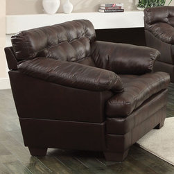 """Acme Furniture - Neonard Chair in Brown Bonded Leather - Neonard Chair in Brown BLM; Finish: Brown BLM; Plastic Leg; Materials: Bonded Leather & PU, Plastic Leg; Weight: 84 lbs; Dimensions: 48""""L x 40""""D x 42""""H"""