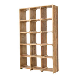 Four Hands - Hughes Large Open Bookcase - Raw, rustic pine wood reclaimed from old buildings gives this Craftsman-style bookcase its distinctively beautiful grain. The simple, open design is subtly detailed, allowing the wood itself to be the star. You'll love the way the multiple square openings allow you to stack books without bookends, as well as display pottery, photos and other collectibles in their own sections without worrying about books toppling over on them.