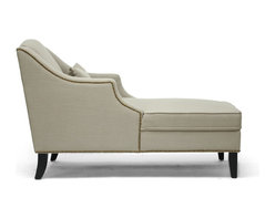 Wholesale Interiors - Asteria Putty Gray Linen Modern Chaise Lounge - Inspired by Victorian times but updated for today's contemporary preferences, the Asteria Designer Chaise Lounge is true delight. Details are where it's at: a wingback design, antiqued finish nail head trim, and a throw pillow are included. Construction is completed in China with a wooden frame, foam cushioning, and neutral putty gray linen upholstery that will lend itself well to a variety of decor. Black wooden legs with non-marking feet finish it off. Some assembly is required for this designer chaise lounge, which must only be spot cleaned.