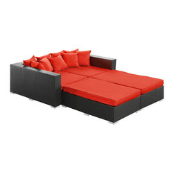 Modway Furniture - Modway Palisades 4 Piece Daybed in Espresso Red - 4 Piece Daybed in Espresso Red belongs to Palisades Collection by Modway Rejoice in the splendor of a completely formed outdoor bedding environment. View from afar as you silently take in the sights and sounds around you for proper effect. Make your initial movements toward transformation with this splendid flowing piece of absolution and resolve. Set Includes: Nine - Palisades Outdoor Wicker Patio Throw Pillows One - Palisades Outdoor Wicker Patio Left Side Chaise One - Palisades Outdoor Wicker Patio Right Side Chaise Two - Palisades Outdoor Wicker Patio Ottomans Left Side Chaise (1), Right Side Chaise (1), Throw Pillows (9), Ottoman (2)