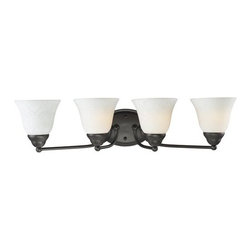 Z-Lite - Z-Lite 2116-4V Athena 4 Light Bathroom Vanity Light - With the delightful glow from its white mottle shades combined with the fixture's bronze finish, this vanity light fixture brings a new level of charm to any space.Specifications: