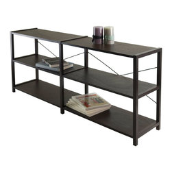 "Winsome Wood - Winsome Wood Sheldon 2X, 3-tier Crossed Wire Shelf X-65304 - Sheldon 3-Tier Shelf is versatile with it's width at 56"".   Use it to store books or even dub as TV stand for your flat screen.  X metal cross on the back lends to design plus gives stability.  Overall size is 56.10""W x 12.13""D x 24'H.  Distance between each shelf is 9.84"". Veneer with composite wood in cappuccino finish.  Assembly required."