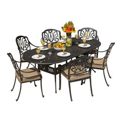 Lakeview Outdoor Designs - Rosedown 6-Person Cast Aluminum Patio Dining Set With Cast Aluminum Table - The Rosedown collection from Lakeview Outdoor Designs adds sophistication to any outdoor area. This 7-piece set includes an 86x42 inch dining table and six dining chairs with an intricate design that complements any patio decor. The generous seats offer maximum comfort and include 3-inch linen sesame cushions made from all-weather Sunbrella fabric which resists fading, moisture and mildew. Each piece in this set has a hand crafted, cast aluminum frame that is welded for premium durability and capped with non-marking leveling feet on the bottom for additional support. The powder-coated, antique bronze aluminum finish is rust resistant and cleans up easily with mild soap and water. Dimensions (in inches): Dining Table: 86 W X 42 D X 29 H. Dining Chairs: 25 W X 26 3/8 D X 36 H. Seat Height: 16.