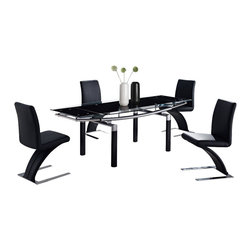 Global Furniture - Global Furniture USA 88DT 5-Piece Black Glass Dining Room Set with Black Legs - The table features rectangular frosted glass top which is framed with clear glass and folding sides. The tubular legs are made of silver metal and finished in black which completes the look of your dining or living space.