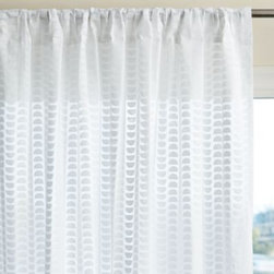 Serena & Lily - Half Moon Window Panel White - A subtle study in geometry, with simple half-moon shapes flipped up and down from top to bottom. It may be white on white, but the print on the softest of voile creates a play that's far from boring.