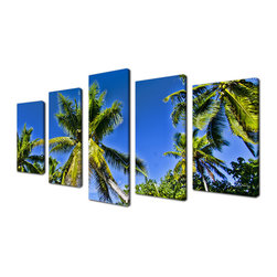 Ready2HangArt - Ready2hangart Chris Doherty 'Niue Palms' 5-piece Canvas Wall Art - The 'Niue Palms' canvas art depicts lush green palms gleaming in a clear blue sky. This canvas features a tropical theme and is gallery-wrapped canvas for a contemporary look.