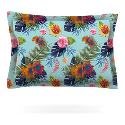 "Kess InHouse - Nika Martinez ""Tropical Floral"" Blue Flowers Pillow Sham (Cotton, 30"" x 20"") - Pairing your already chic duvet cover with playful pillow shams is the perfect way to tie your bedroom together. There are endless possibilities to feed your artistic palette with these imaginative pillow shams. It will looks so elegant you won't want ruin the masterpiece you have created when you go to bed. Not only are these pillow shams nice to look at they are also made from a high quality cotton blend. They are so soft that they will elevate your sleep up to level that is beyond Cloud 9. We always print our goods with the highest quality printing process in order to maintain the integrity of the art that you are adeptly displaying. This means that you won't have to worry about your art fading or your sham loosing it's freshness."