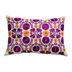 Fiesta Pillow, Floral Embroidery
