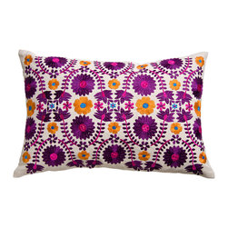 KOKO - Fiesta Pillow, Floral Embroidery - Even if you love a bright pink, you might agree that the flashy hue is often best in small doses. This embroidered pillow would add just the right dash of the color to a tableau of cushions on a sofa or bed.