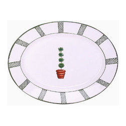 Artistica - Hand Made in Italy - Giardino: Serving Oval Platter - Giada Collection: