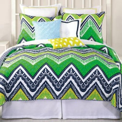 Trina Turk - Trina Turk Tangier Stripe Coverlet - The Tangier Stripe coverlet by Trina Turk is a perfect mix of Moroccan inspired motifs, with a gorgeous chevron pattern in bright chartreuse, green, and navy, and reverses to a simple navy pattern.