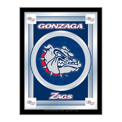 "Holland Bar Stool - Holland Bar Stool Gonzaga Logo Mirror - Gonzaga Logo Mirror belongs to College Collection by Holland Bar Stool The perfect way to show your school pride, our logo mirror displays your school's symbols with a style that fits any setting.  With it's simple but elegant design, colors burst through the 1/8"" thick glass and are highlighted by the mirrored accents.  Framed with a black, 1 1/4 wrapped wood frame with saw tooth hangers, this 17""(W) x 22""(H) mirror is ideal for your office, garage, or any room of the house.  Whether purchasing as a gift for a recent grad, sports superfan, or for yourself, you can take satisfaction knowing you're buying a mirror that is proudly Made in the USA by Holland Bar Stool Company, Holland, MI.   Mirror (1)"