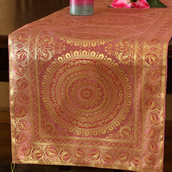 """Elegant Table Runners - Unique """"Exotic Oriental Table Runner"""" Pink Rose color. Hand crafted in India. Gold"""