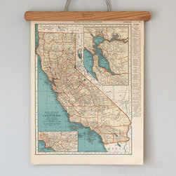 1930s Antique State Map of California and Colorado by Reclaimer - Have you ever decorated with vintage maps? It is a really cool idea for an empty wall. You can find them in all kinds of sizes and colors featuring all states and countries. I love the hint of blue on this California map.