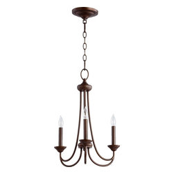 Joshua Marshal - Three Light Oiled Bronze Up Chandelier - Three Light Oiled Bronze Up Chandelier