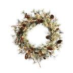 "Vickerman - Dakota Pine Wreath 50CL 112T (30"") - 30"" Dakota  Wreath 50 Clear Mini Lights  Cones 112 PVC Tips"