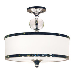 Three Light Chrome White Glass Drum Shade Semi-Flush Mount - For a cutting edge modern fixture, look no further than this semi-flush. A milk white shade is complimented with chrome bands, surrounding a crystal sphere. This semi-flush is sure to be great addition to any contemporary space.