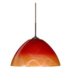 Besa Lighting - Besa Lighting 1JT-4201SL-LED Tessa 1 Light LED Cord-Hung Pendant - Tessa has a classical bell shape that complements aesthetic, while also built for optimal illumination. Our Solare glass is a pressed glass that features swirls of white throughout clear glass, which then is colored with a translucent mix of red-orange to yellow. This decor is classic and can be used in various ways. When lit this gives off a light that is functional and soothing. The smooth satin finish on the clear outer layer is a result of an extensive etching process. This handcrafted glass uses a process where every glass is consistently produced using a press mold, keeping variations to a minimum. The cord pendant fixture is equipped with a 10' SVT cordset and an low profile flat monopoint canopy.Features: