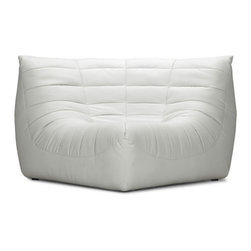 ZUO - Carnival Corner Chair - White - The Carnival sectional set is like curling up in someone's arms. Wrapped in a soft leatherette, it's padded and tufted in all the right places. Comes in espresso, black or white.