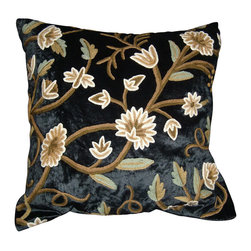 Crewel Fabric World - Crewel Pillow Grapes Black Rayon Velvet 20x20 Inches - Artisans in a remote mountain village in Kashmir crewel stitch these blossoms, vines and leaves by hand, resulting in a lush pattern of richly shaded wool yarns on Linen, Cotton, Velvet, Silk Organza, Jute. Also backed in natural linen, Cotton, Velvet Silk Organza, Jute with a hidden zipper.