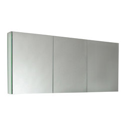 "Fresca - Bathroom Medicine Cabinet w Mirrored Doors - Recessed Mounting Option. Product Material: Glass. Finish: Mirror. 4 Glass Shelves. 3 Mirrored Doors. 59 in. W x 26 in. H x 5 in. DThis 60"" medicine cabinet features mirrors everywhere. The edges have mirrors and also on the interior of the medicine cabinet. The inside features four tempered glass shelves. Can be wall mounted or recessed into the wall."