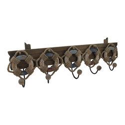 Zeckos - Wood and Metal Nautical Life Ring 5 Hook Wall Rack - This decorative wall hook features a wooden slat adorned with a quintet of distressed finish red, white and blue nautical life preserver rings. Each life ring holds a metal hook with a wooden ball on the end, perfect for hanging robes and towels in a bathroom, belts and purses in a bedroom, or keys and leashes in an entryway. It measures 19 1/2 inches long, 9 1/2 inches high and 3 1/4 inches deep. It easily hangs using two nails or screws from the metal loop hangers on the back.