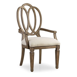 "Hooker Furniture - Hooker Furniture Solana Wood Back Arm Chair - Set of 2 - Luminous and fresh, Solana is a refined rustic, opulent yet casual collection that celebrates the look of natural wood bathed in sunshine. Poplar Solids and Oak Veneers with Fabric. Dimensions: 24""W x 26""D x 42""H."