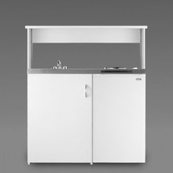 """Summit - C39APSW 39"""" Wide Combination Kitchen in White - SUMMITs C39APS is a 39 inch wide combination kitchen with a 24 inch depth and includes our Space Saving Appliance Station in white powder coated galvanized steel Two sealed electric burners a refrigerator-freezer sink cabinet space and heavy-duty ste..."""