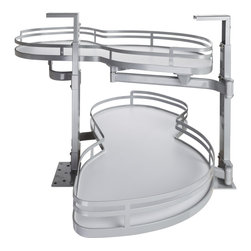 Hardware Resources - Blind Corner Swing Out  Right Handed Unit.  18 Opening - Blind Corner Swing Out  Right Handed Unit. Minimum 18 opening for Frameless or Face Frame Cabinets. White laminated shelves with powder coated edging  ships complete with installation instructions.