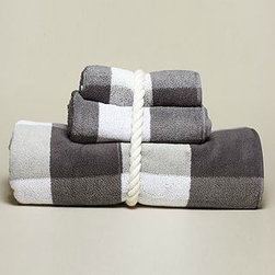 Jacquard Plaid Bath Towel - Anchor gray and white combine to create a sophisticated jacquard plaid bath towel. It's 100 percent cotton and 100 percent style!
