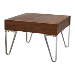 Area Inc. - Bruno Walnut Nightstand With Drawer - Area Inc. - Simplicity meets style in this Bruno Walnut Nightstand. Made from solid American walnut wood with an oil finish, this nightstand has a clean, elegant look that pairs well with modern decor. Other features include die cast aluminum legs and a flat, square top with a hidden drawer.