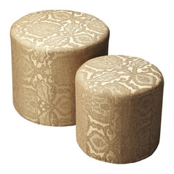 Butler Furniture - Nesting Ottomans Gold Damask - Crafted from poplar solids and upholstered in a Gold Damask fabric featuring a durable Dacron blend, these ottomans are as stylish as they are functional and designed to complement virtually any decor. To save space the smaller piece can be stored inside the larger one.