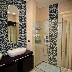"""Ornamental & Damask Collection - """"Butare"""" in Silver Moon is from Artaic's Ornamental & Damask Collection which combines sleek clear glass with old-world glamour. All patterns can be customized with any of our tile material and colors at no additional cost. Browse the full catalog: http://goo.gl/D3krL"""