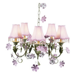 Beautiful Leaf and Flower Chandelier with Pearl Flower Pink Shades - Perfect for her pink and green room!  This pretty chandelier in pink and green features stunning pink shades with beautiful pearl flower shades.