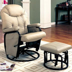 Coaster - Deluxe Swivel Glider Recliner w Ottoman - Casual style. Pillow arm anchored top. Steel frame. Attached back. Unsurpassed comfort. Exterior handle. Square footrest. Plush microfiber upholstered seat back with pillow headrest and tufting. Side pocket on seat provides convenient storage for remotes, books, magazines and more. Recliner: 36.5 in. L x 28.25 in. W x 41.5 in. H. Ottoman: 18.75 in. L x 16.5 in. W x 14.25 in. H. WarrantyThis swivel glider and recliner combination with matching ottoman for the ultimate den or living room chair. Tufted details on the seat back form an eye catching design that is further enhanced by the sleek steel look finish on the bases of the ottoman and chair.