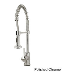 VIRTU - Virtu USA Triton PSK-1004 Single Handle Kitchen Faucet in Brush Nickel or Polish - Virtu USA Triton PSK-1004 single handle kitchen faucet reach every corner of your sink. The faucet features a swivel spout and a pull-down sprayer that makes it easy for cleaning dishes.