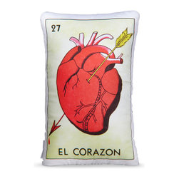 Through The Heart Pillow - A pillow after your own heart, the Through The Heart Pillow was drawn just for you. Made from original photographs taken of a Mexican Bingo Loteria card, each pillow is printed on cotton sateen and hand-stuffed. It's the perfect place to rest your head and your heart.