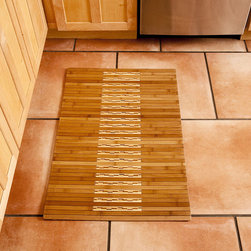 High Gloss Inlaid Bamboo Kitchen/Bath Mat Rug - Our Bamboo Kitchen & Bath Mat offers an exquisite inlaid bamboo design and glossy finish that adds a natural sophistication to your kitchen and bath.