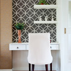 Endless Circles Lattice Moroccan Stencil - Endless Circles Lattice Wall Stencil from Royal Design Studio Stencils. This modern, work station is enhanced by handpainted, stenciled circles in a classic, Moroccan pattern. This design also works in powder rooms, on accent walls and ceilings.
