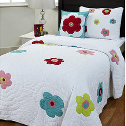 None - Sydney 3-piece Twin-size Quilt Set - This lovely handmade quilt set is full of fun flower power. This bedding set features bright, colorful flowers on a beautiful white background.