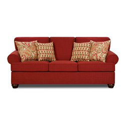 Simmons - Made to Order Simmons Upholstery Sentiment Red Queen Hide-A-Bed - Offer guests a comfortable place to sit during the day and a cozy place to sleep at night with the Sentiment queen-sized hide-a-bed by Simmons. The sofa bed has a plush chenille cover and stylish red upholstery.