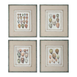 Study Of Eggs Framed Art, Set of 4 - *These Oil Reproductions Feature A Hand Applied Brushstroke Finish And Are Accented By Gray, Oatmeal Linen Mats. Frames Have An Outer Edge In Lightly Distressed, Muted Aqua Undertones With A Heavy Charcoal Wash. Inner Lips And Fillets Have An Off-white Undertone With Heavy Taupe Wash.